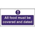 Food Covered and Dated Sign 20cm x 10cn